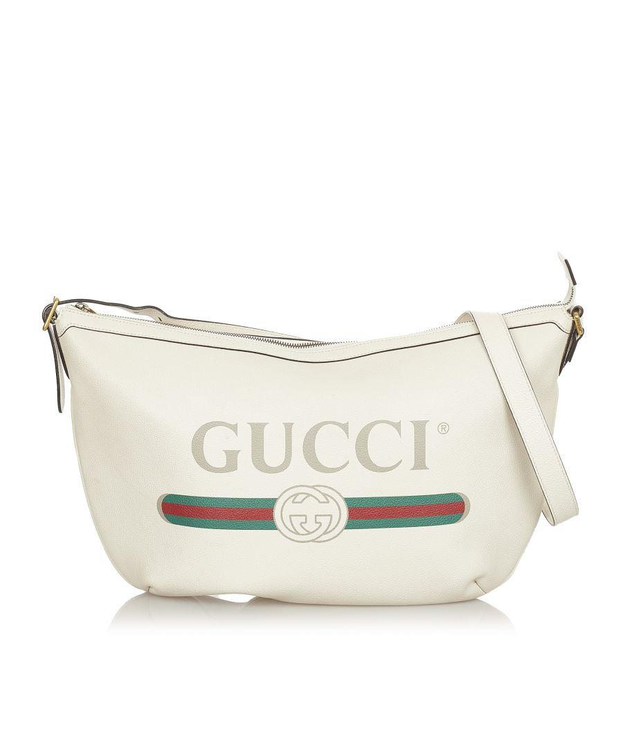 Image for Vintage Gucci Logo Leather Shoulder Bag White