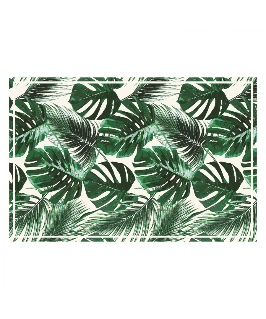Image for WFM6218 - Green Tropical Leafs Mat 150 x 99 cm