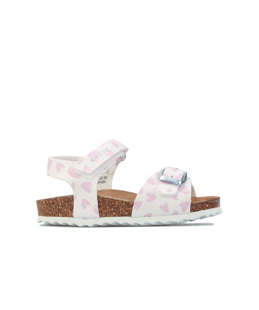 Image for Girl's Geox Infant Chalki Sandals in White pink