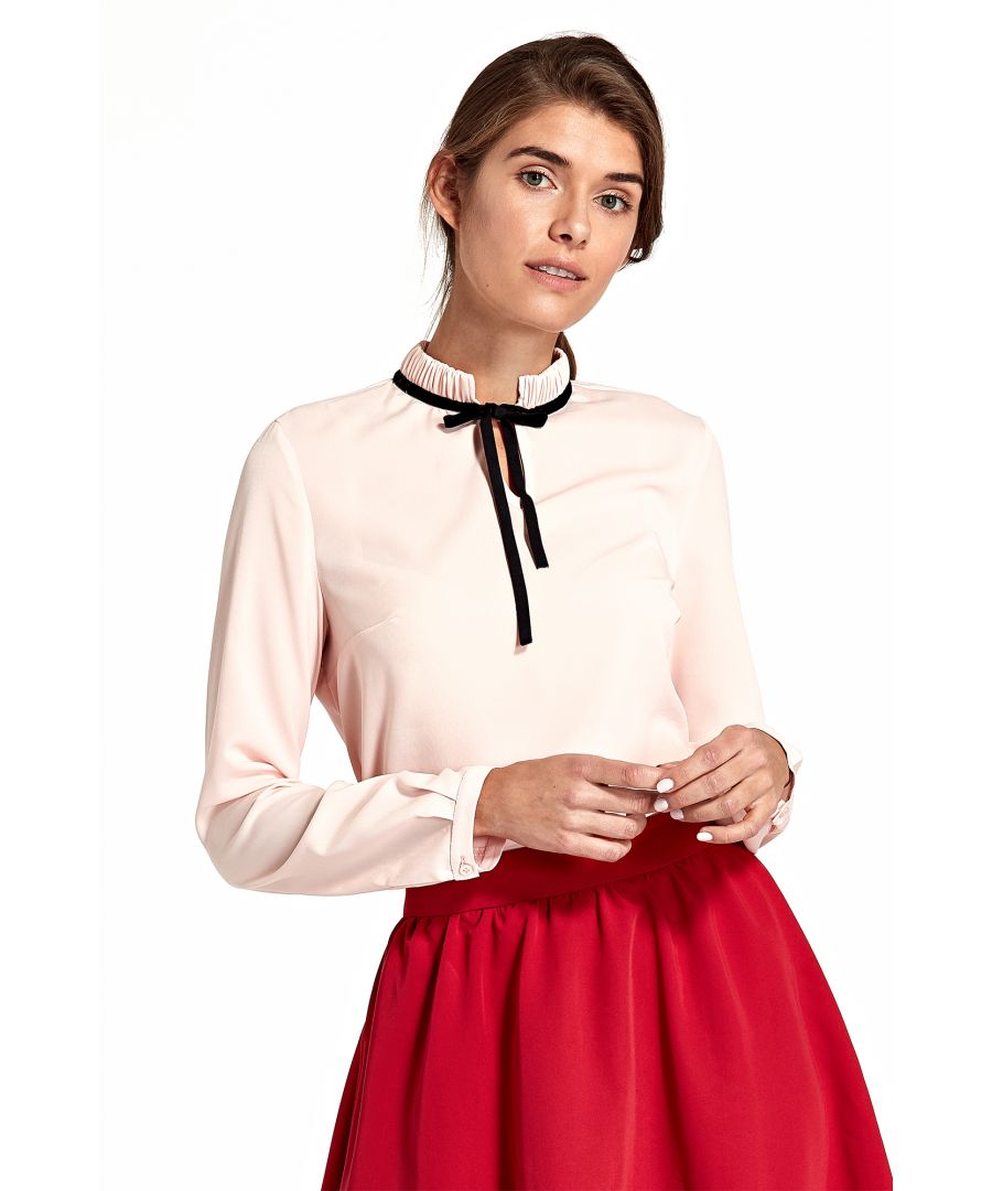 Image for Blouse with stand-up collar and ribbon on neck - pink