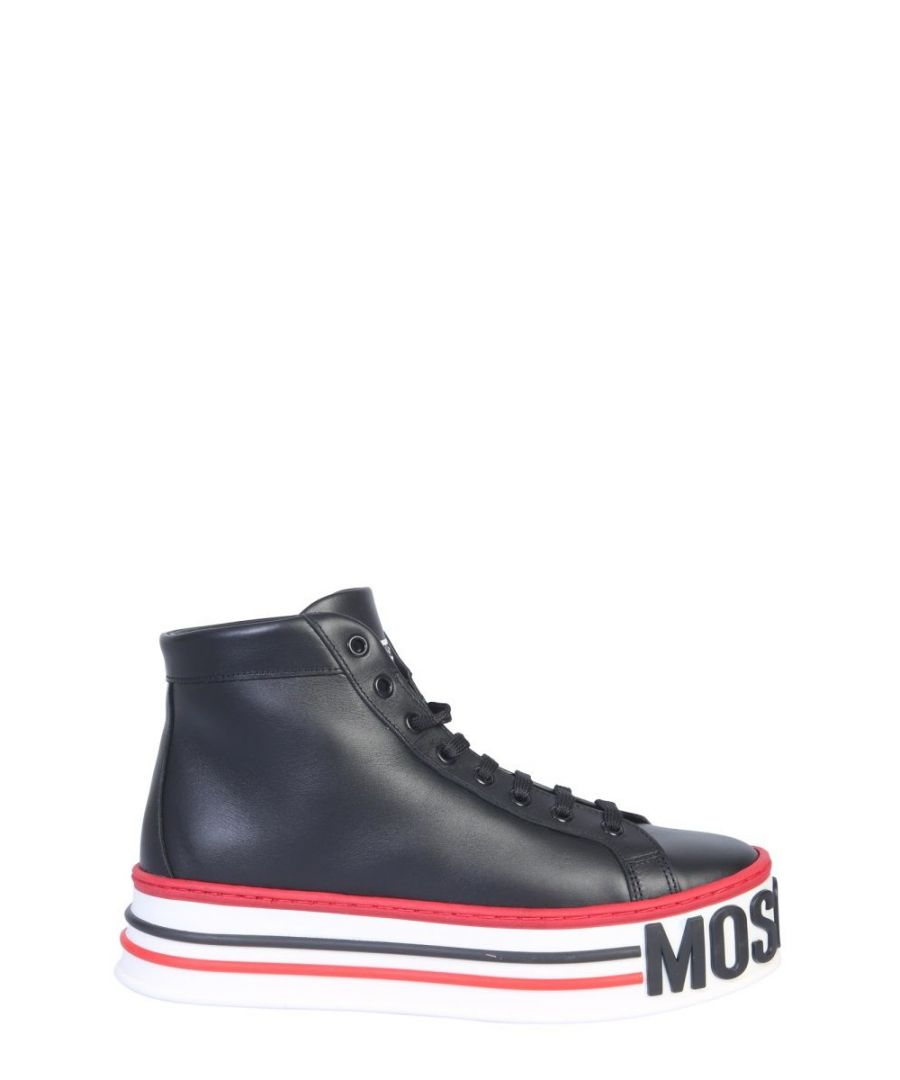 Image for MOSCHINO WOMEN'S MA15055G18MF000A BLACK LEATHER HI TOP SNEAKERS