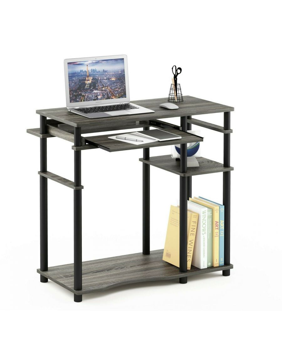 Image for Furinno Abbott Computer Desk with Bookshelf - French Oak Grey/Black