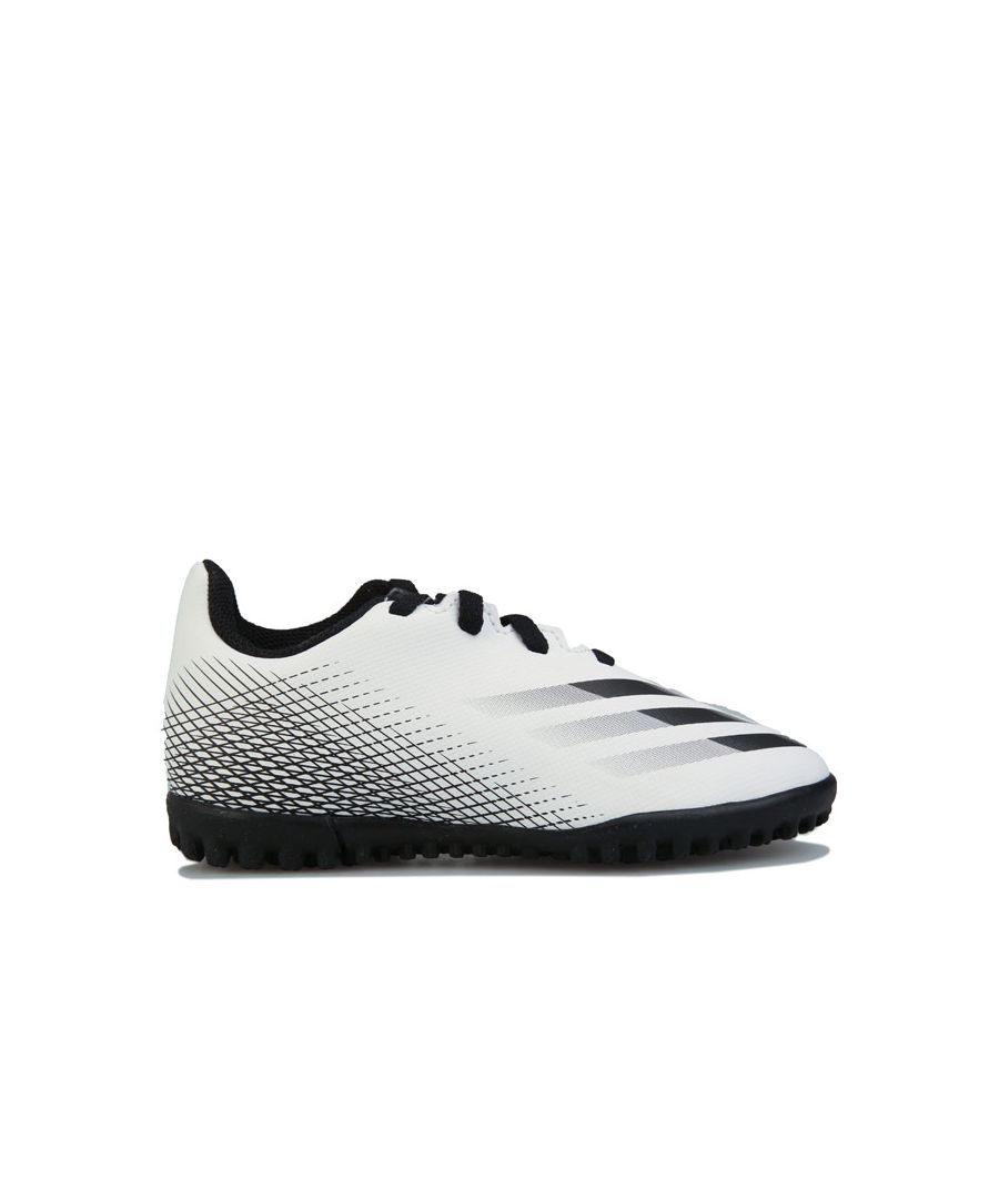 Image for Boy's adidas Junior X Ghosted.4 Turf Football Boots in White Black