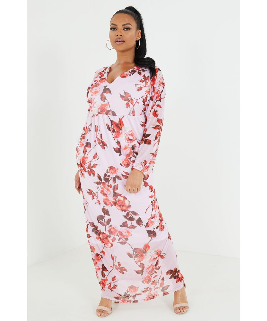 Image for Curve Pink Floral Maxi Dress