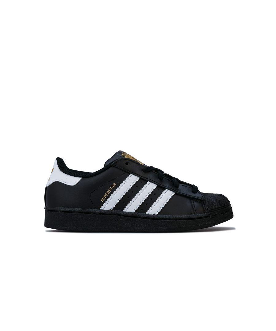 Image for Boy's adidas Originals Children Superstar Foundation Trainers in Black-White