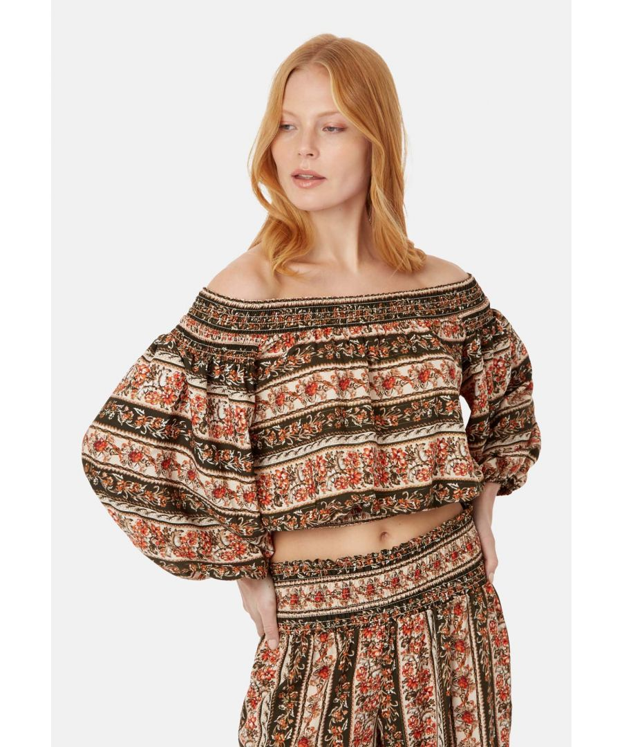 Image for Ava Off the Shoulder Boho Top in Brown