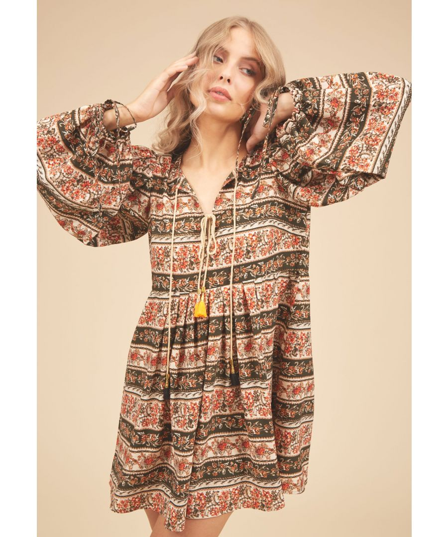 Image for Boho Blues Floral Mini Dress in Brown