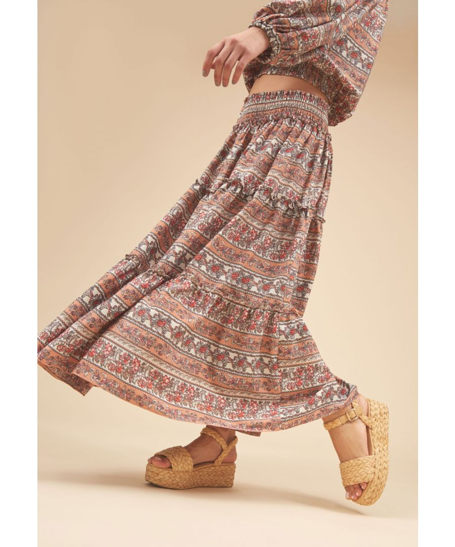 Image for Bells on her Toes Boho Maxi Skirt in Peach