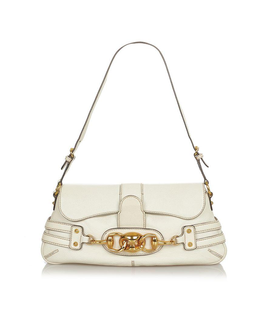Image for Vintage Gucci Wave Leather Shoulder Bag White