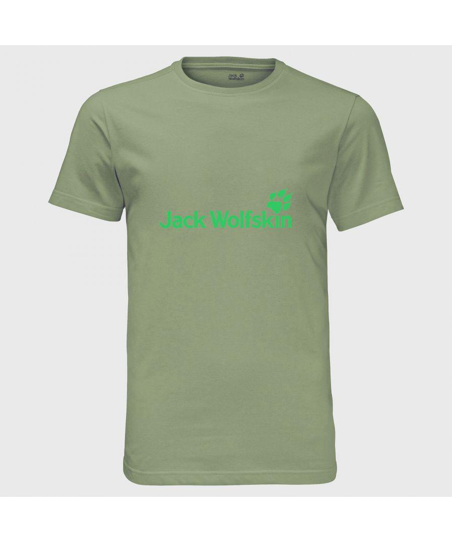 Image for Jack Wolfskin Logo Mens T-Shirt Khaki - L