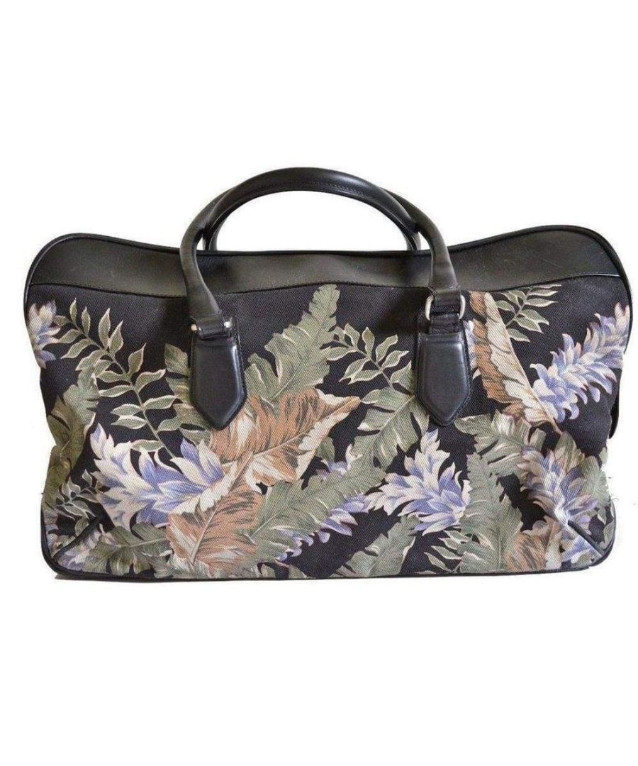 Image for Dries Van Noten Large Floral Print and Leather Weekend Bag