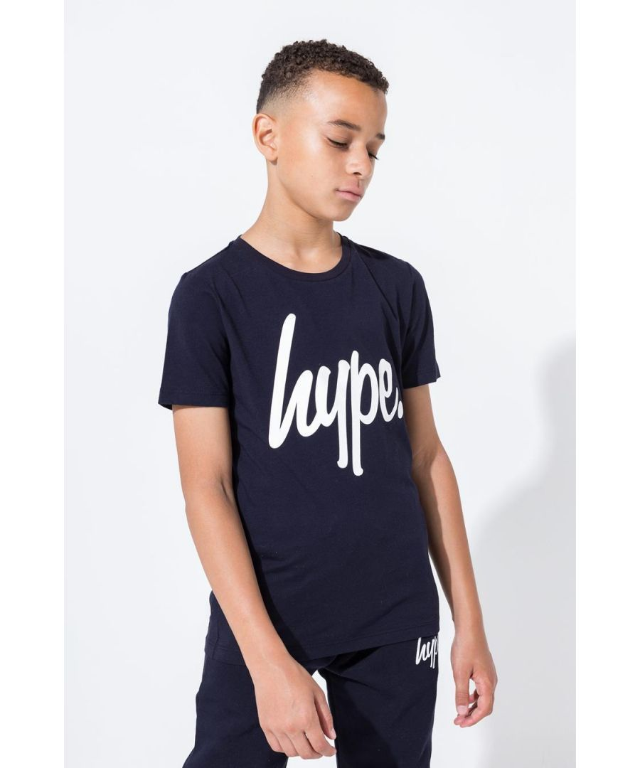 Image for Hype Navy Script Kids T-Shirt