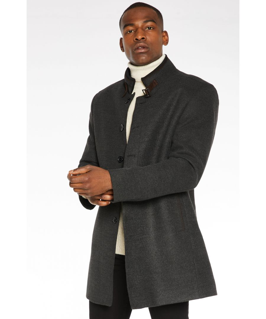 Image for Belted Wool Coat in Charcoal