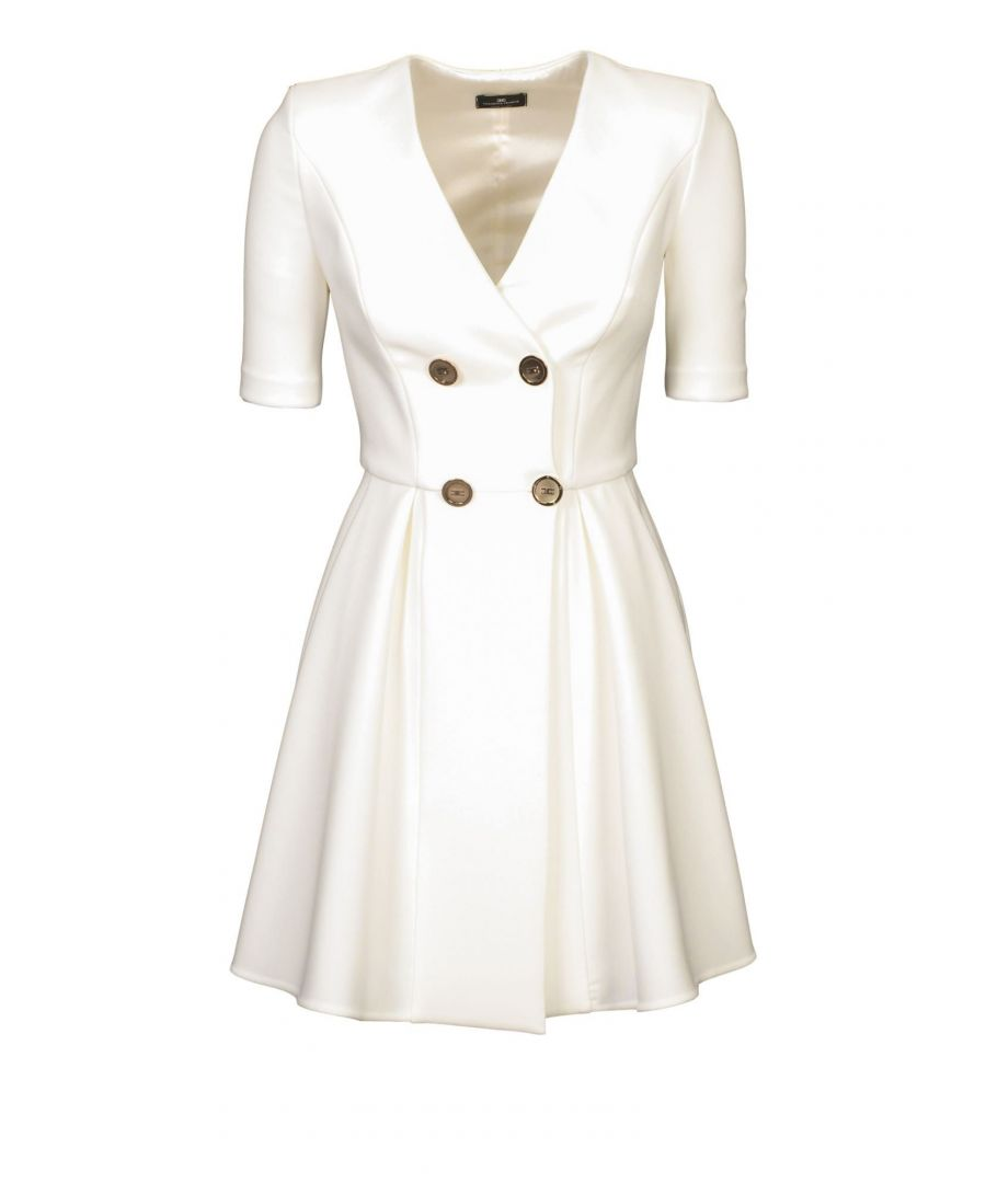 Image for ELISABETTA FRANCHI WOMEN'S AB135001E2360 WHITE POLYESTER DRESS