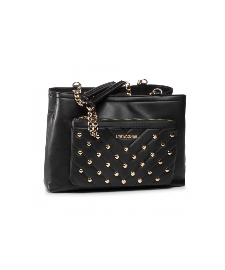Image for Love Moschino Love Heart Studded Double Shoulder Bag in Black