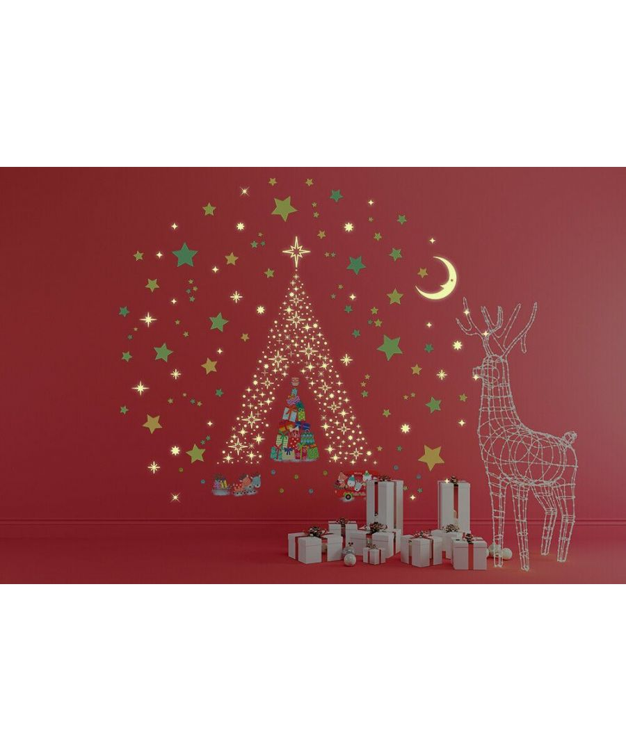 Image for Glow Stars and Moon with Reindeer Christmas Tree  Christmas Wall Stickers, Kitchen, Bathroom, Living room, Self-adhesive, Decal