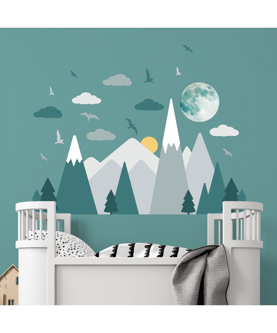 Image for Grey Mountains Under The Glowing Moon wall decal kids room, nursery, wall stickers, peel and stick, self adhesive 26 Pcs. 143 cm x 100 cm