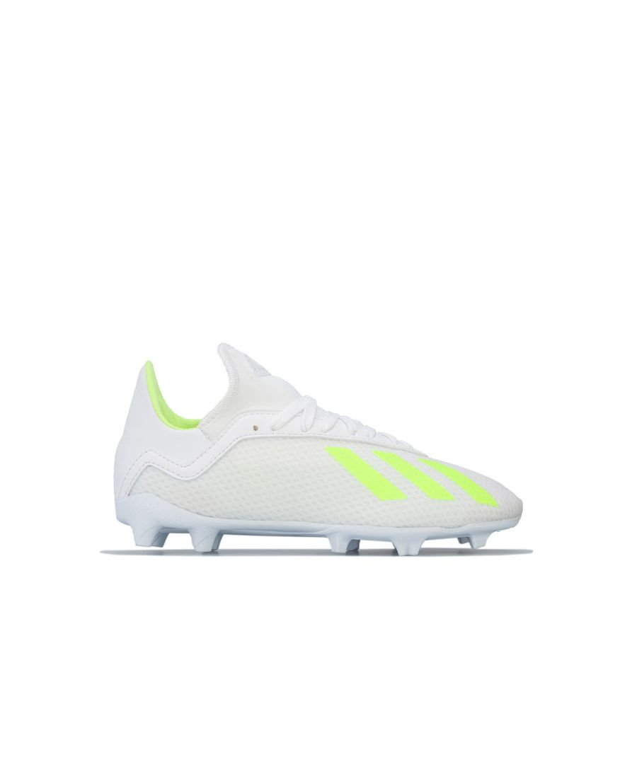 Image for Boy's adidas Children X 18.3 FG Football Boots in White yellow