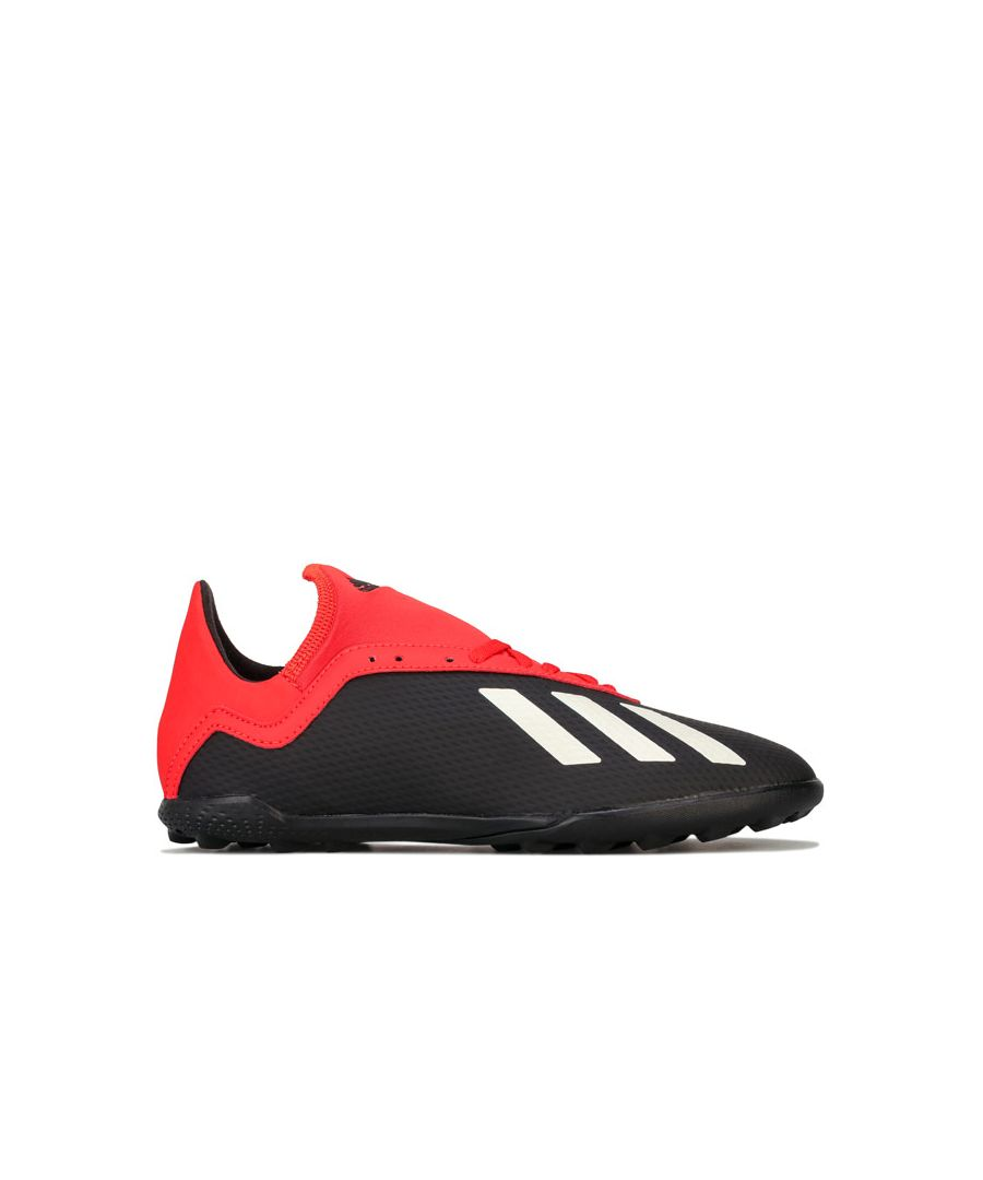 Image for Boy's adidas Junior X 18.3 TF Football Trainers in Black Red