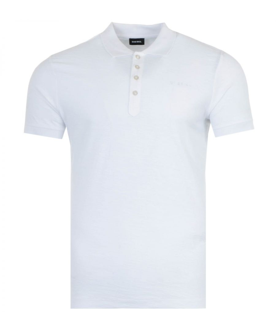 Image for Diesel T-Heal Broken Logo Slub Cotton Polo Shirt - White