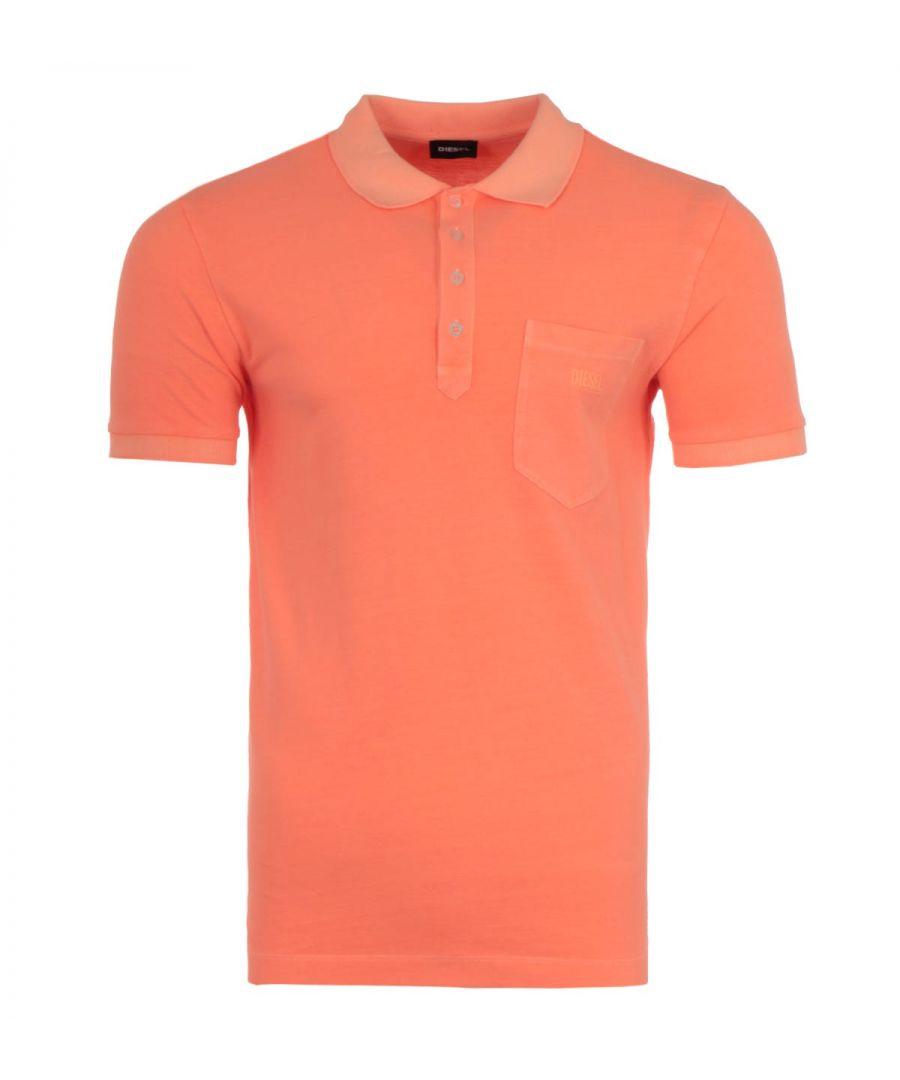 Image for Diesel T-Kal Acid Wash Polo Shirt - Orange