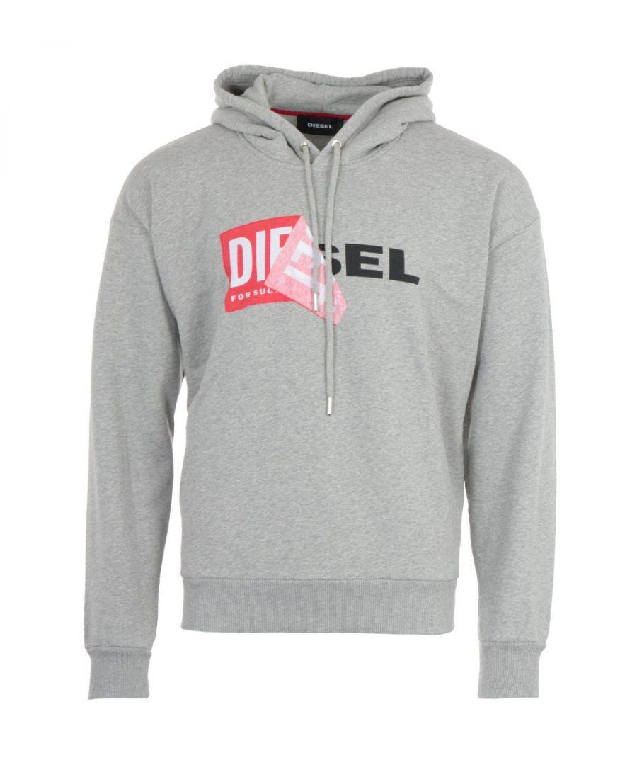 Image for Diesel S-Alby Double Logo Hooded Sweatshirt - Grey