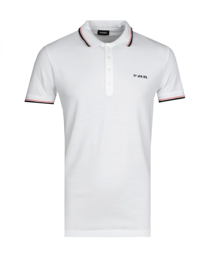 Image for Diesel T-Randy Broken Logo White Polo Shirt