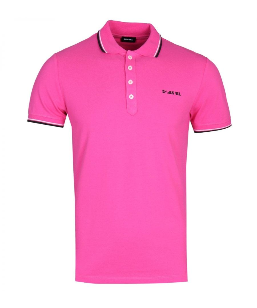 Image for Diesel T-Randy Broken Logo Fuchsia Pink Polo Shirt