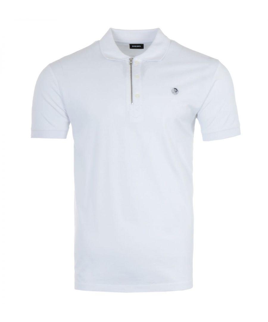 Image for Diesel T-Hart Mohawk Logo Zip Polo Shirt - White