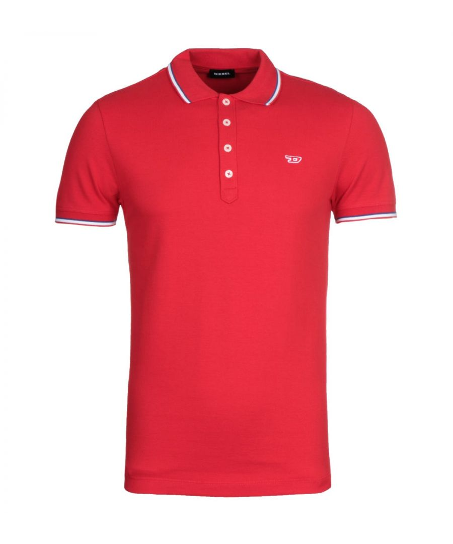 Image for Diesel T-Randy Twin Tipped Red Polo Shirt