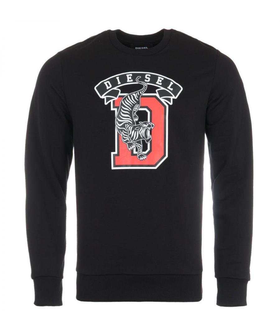 Image for Diesel S-Gir B1 Tiger Print Sweatshirt - Black