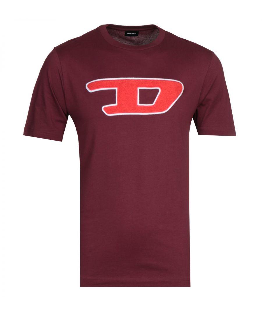 Image for Diesel Large Logo Burgundy T-Shirt