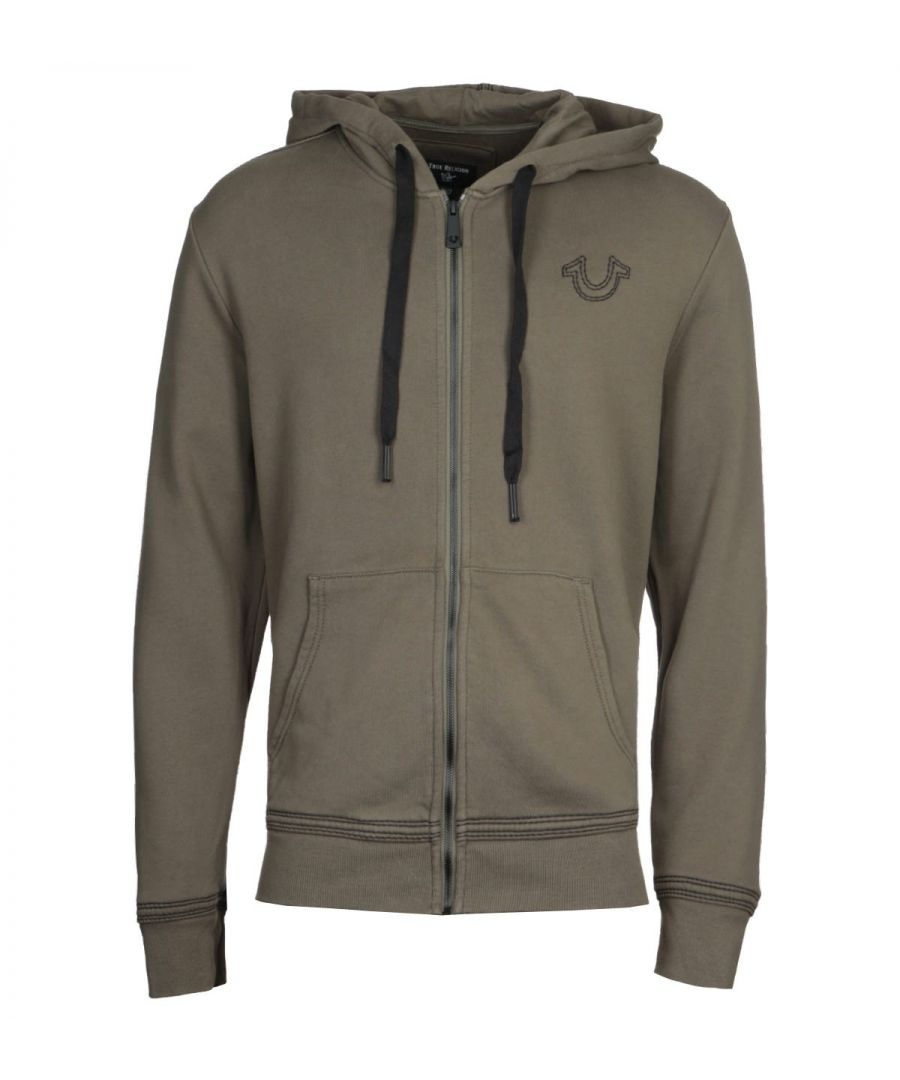 Image for True Religion Stitched Logo Military Green Hooded Sweatshirt