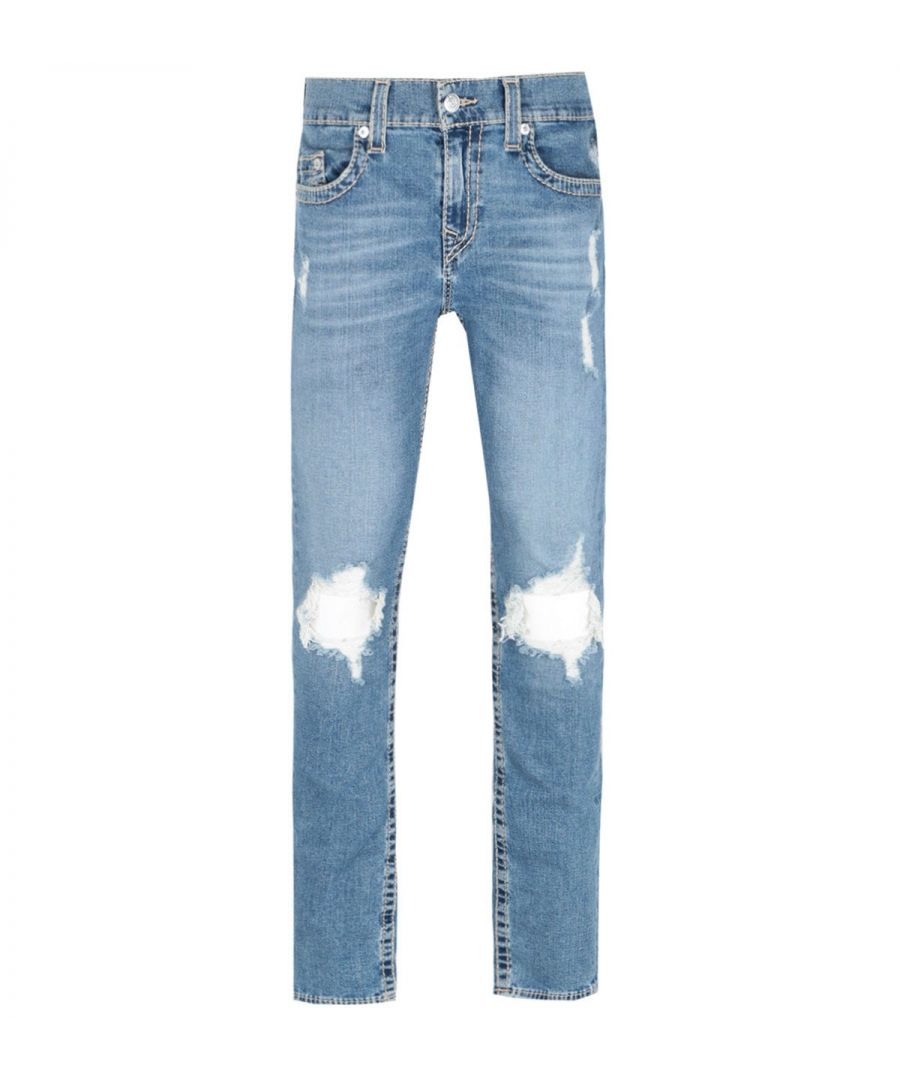 Image for True Religion Rocco Skinny Fit Distressed Detailing Blue Denim Jeans