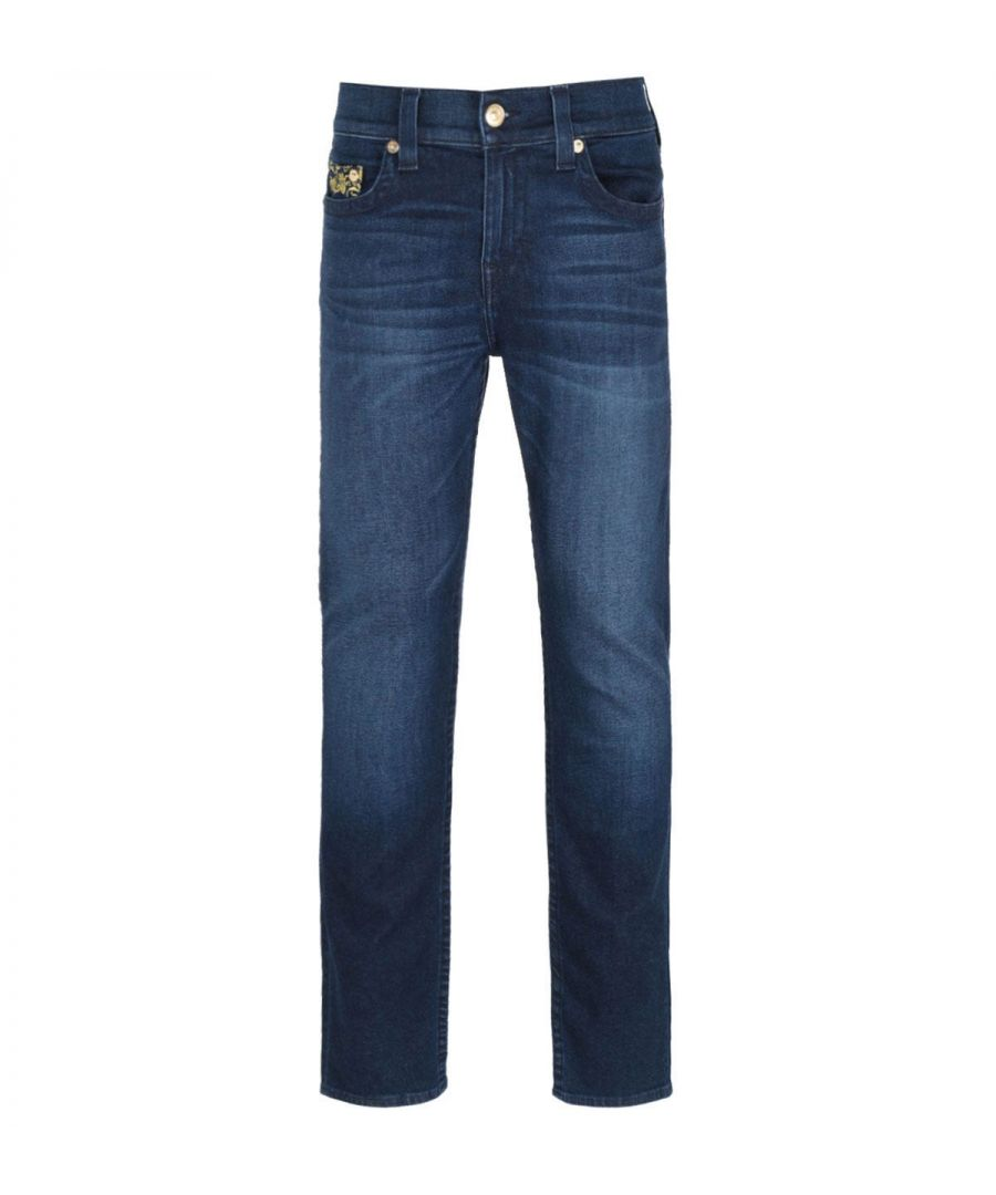 Image for True Religion Rocco Skinny Fit Embroidery Detail Blue Denim Jeans