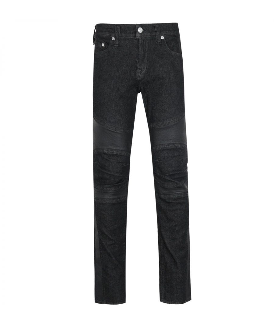 Image for True Religion Rocco Skinny Fit Black Moto Denim Jeans