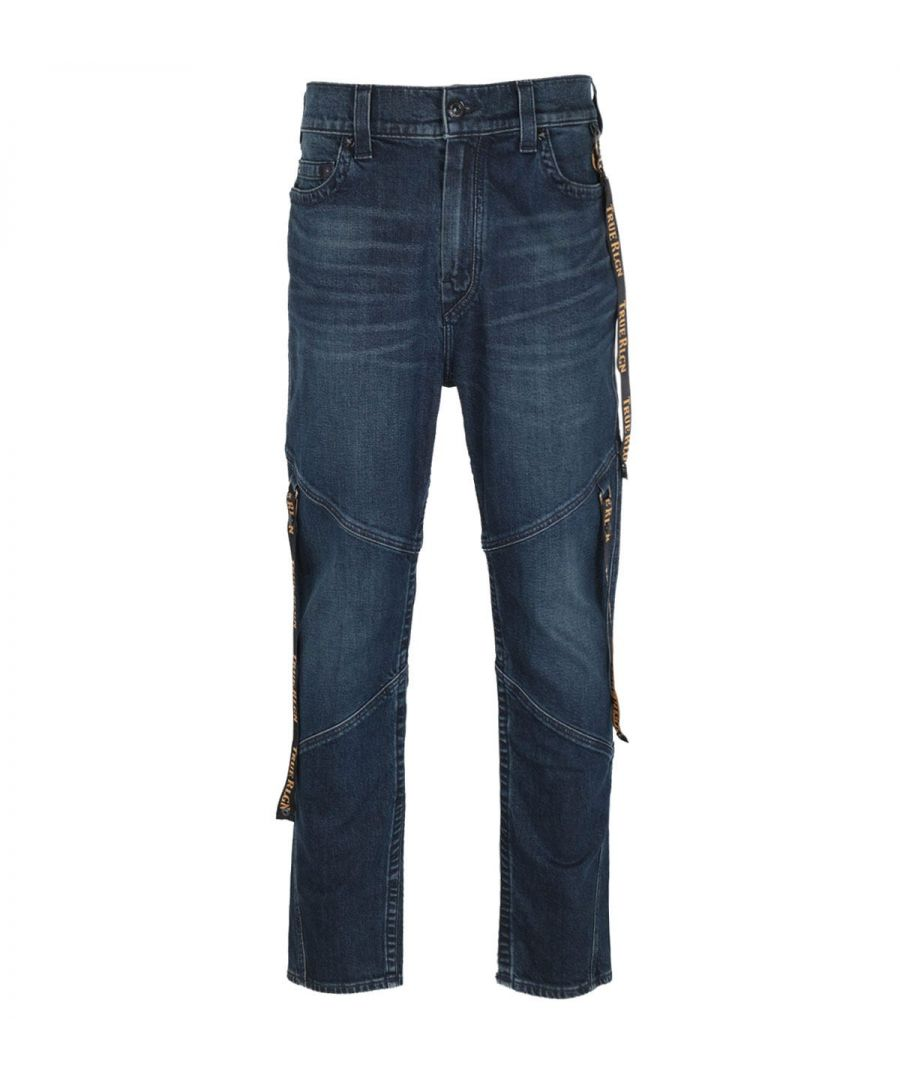Image for True Religion Logan Slim Fit Long Rise Logo Tab Blue Denim Jeans