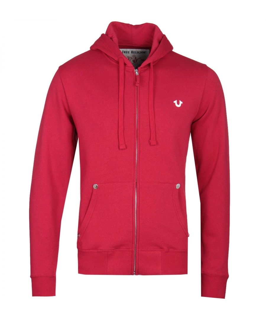 Image for True Religion Classic Logo Zip-Through Red Hoodie