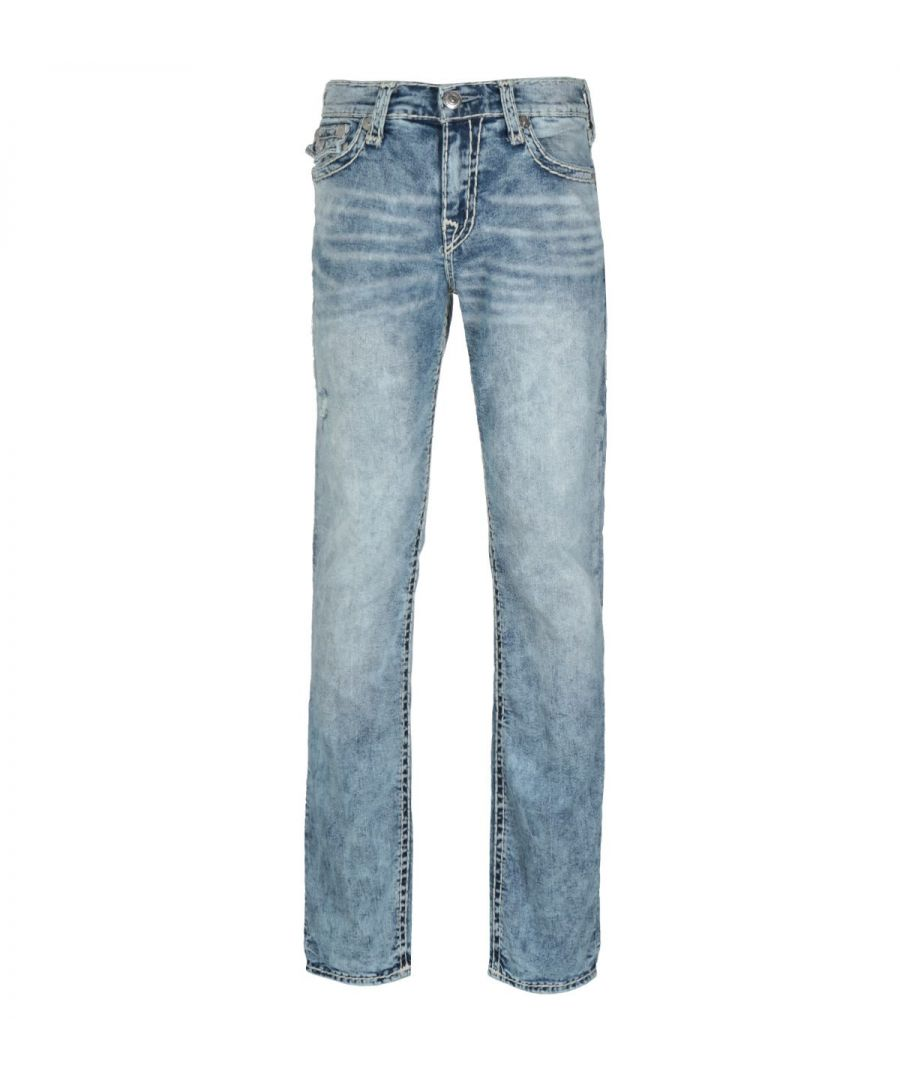 Image for True Religion Ricky Relaxed Straight Fit Flap Launch Blue Denim Jeans