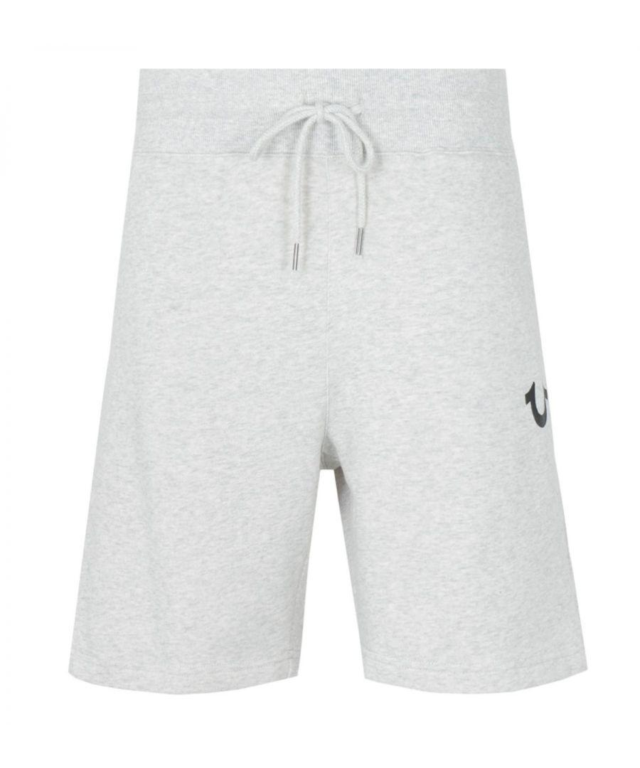 Image for True Religion Logo Sweat Shorts - Heather Oatmeal