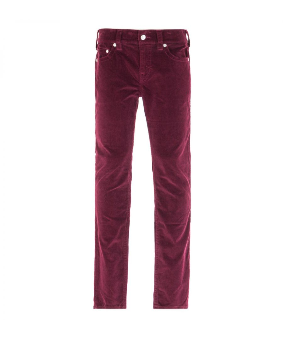 Image for True Religion Rocco Relaxed Skinny Burgundy Corduroy Trousers