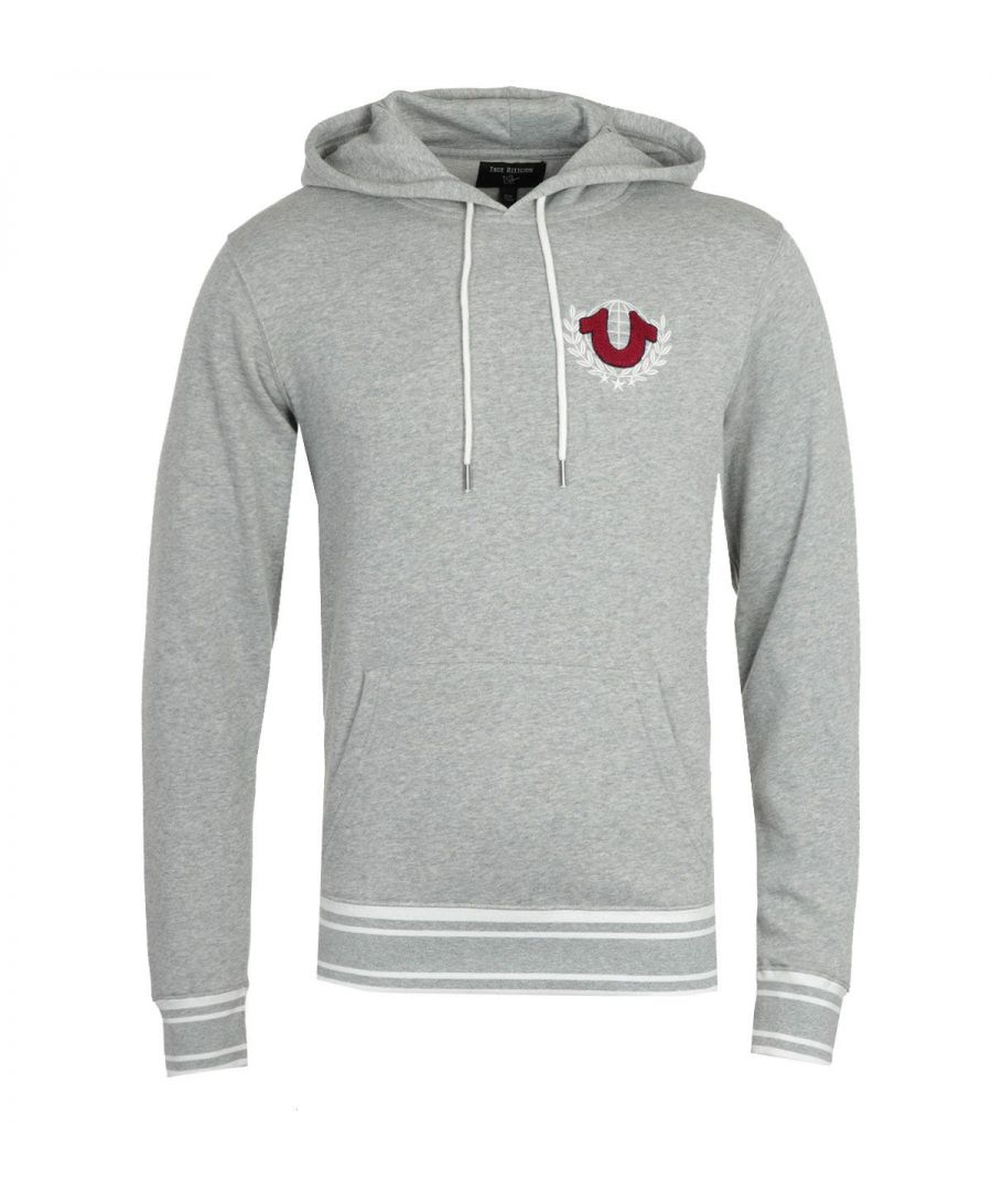 Image for True Religion Collegiate Heather Grey Logo Crest Hooded Sweatshirt