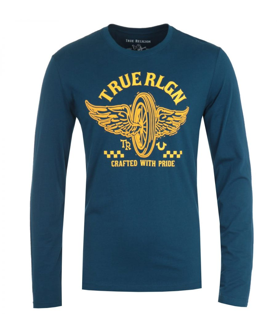 Image for True Religion Barcode Long Sleeve Steel Blue T-Shirt