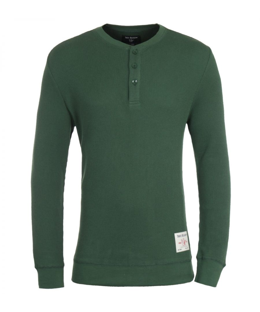 Image for True Religion Thermal Green Long Sleeve Henley T-Shirt