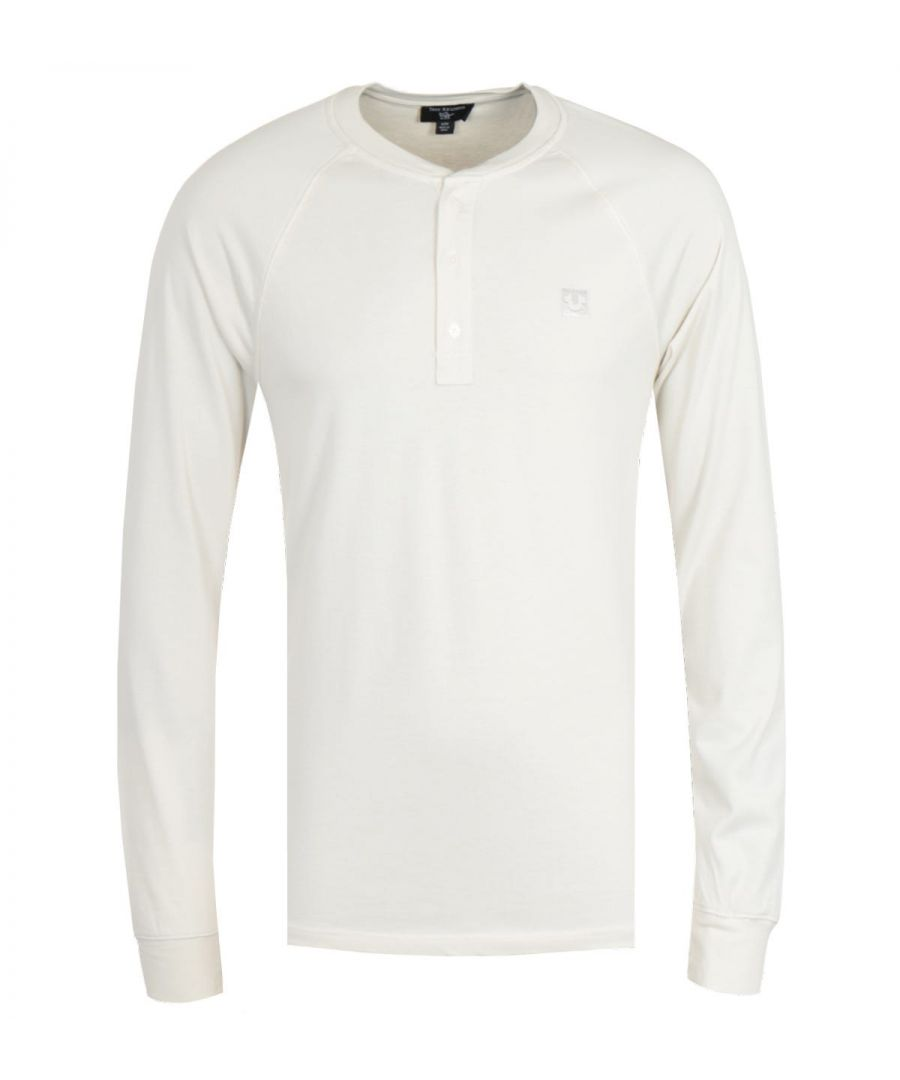 Image for True Religion Embroidery Off White Long Sleeve Henley T-Shirt
