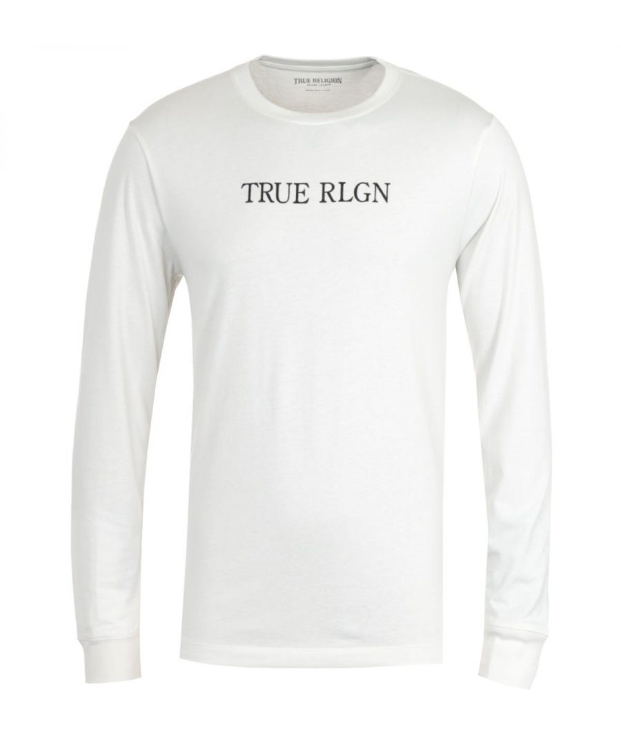 Image for True Religion Typography Long Sleeve Off White T-Shirt