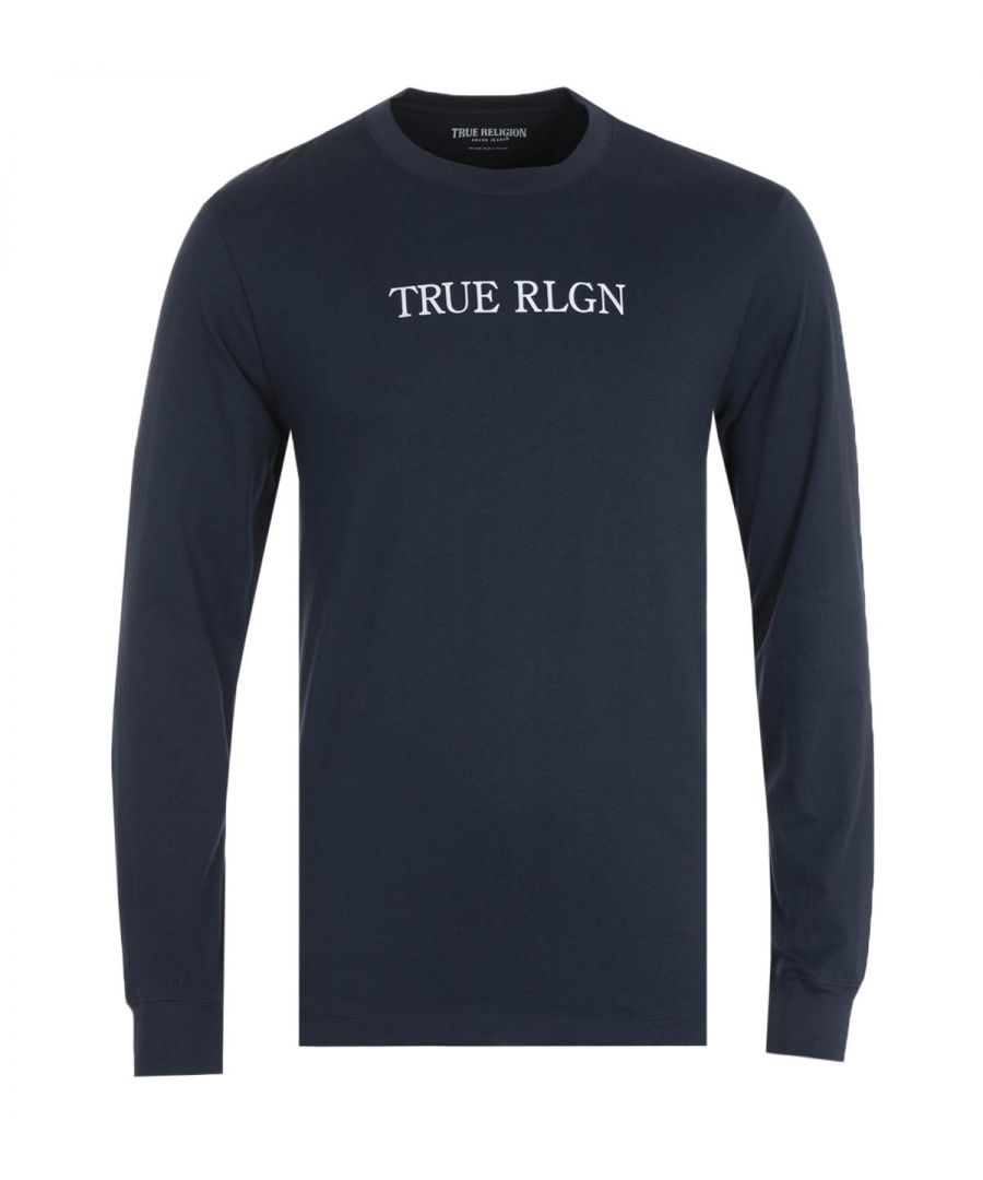 Image for True Religion Typography Long Sleeve Navy T-Shirt