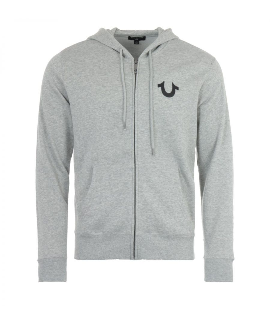 Image for True Religion Zip Up Logo Hooded Sweatshirt - Heather Grey