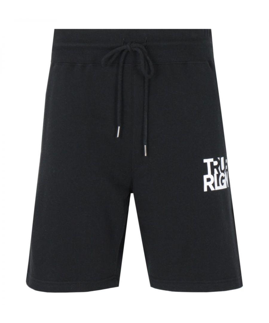 Image for True Religion Lettering Logo Sweat Shorts - Black