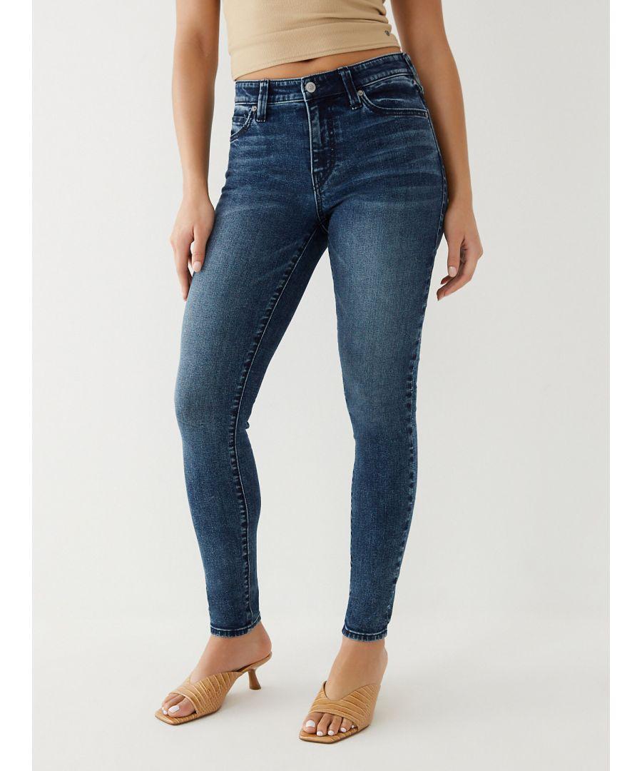 Image for True Religion Womens Jennie Midrise Super Skinny Jeans - Midnight Blue